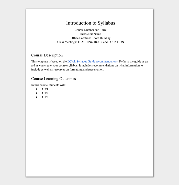 Introduction to Syllabus