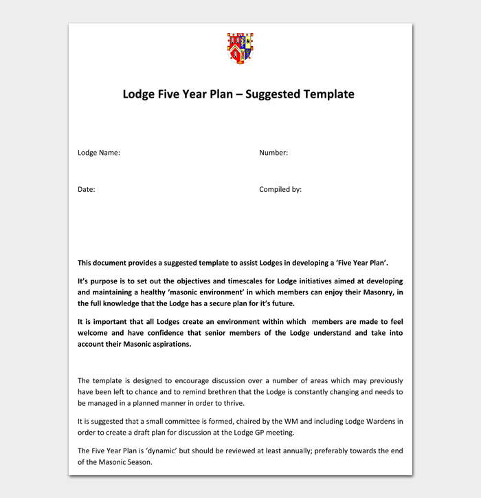 Lodge Five Year Plan Suggested Template