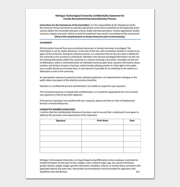 Michigan Technological University Confidentiality Statement