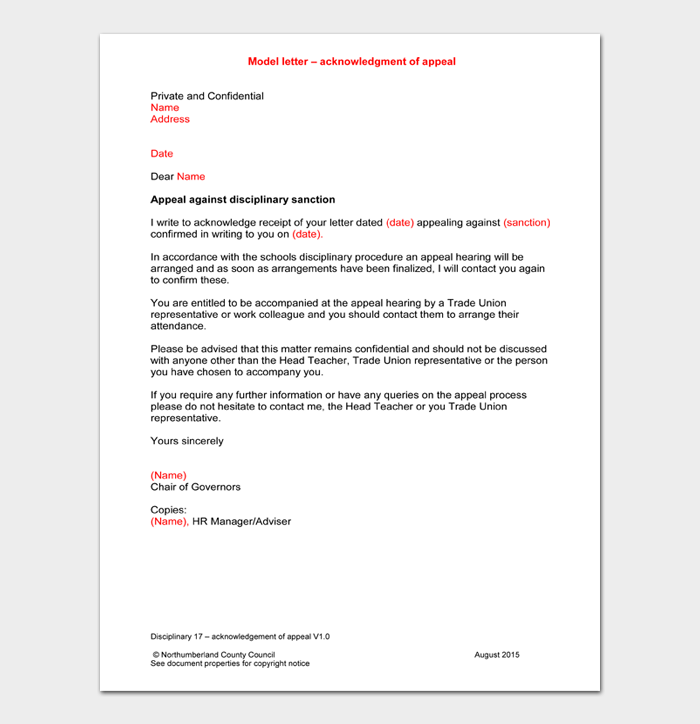 Model letter – acknowledgment of appeal