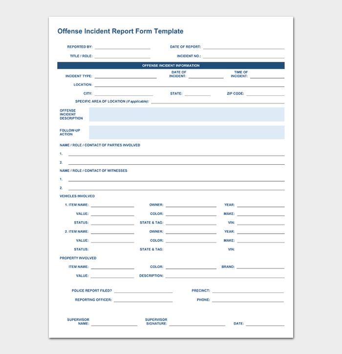 Offense Incident Report Form TemplateTemplate