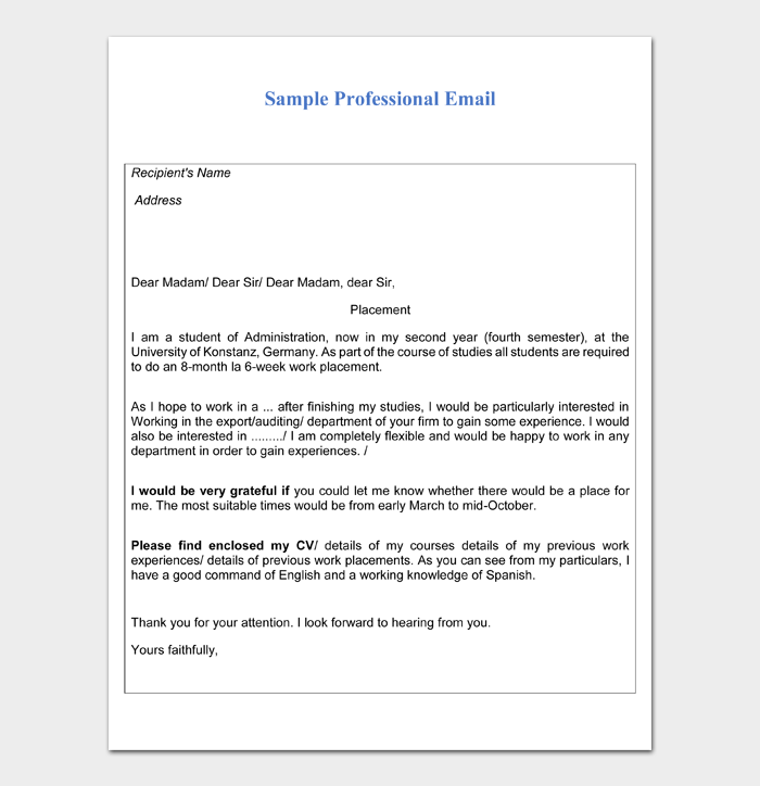 Professional Email Example #04