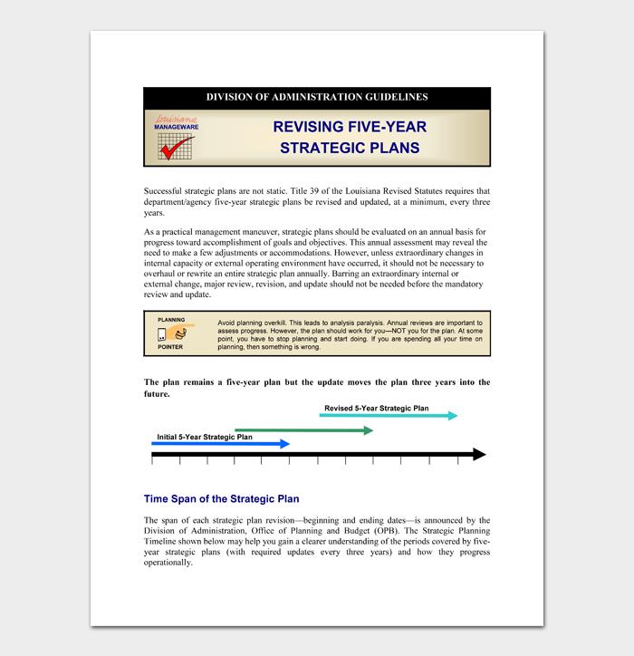 REVISING FIVE YEAR STRATEGIC PLANS