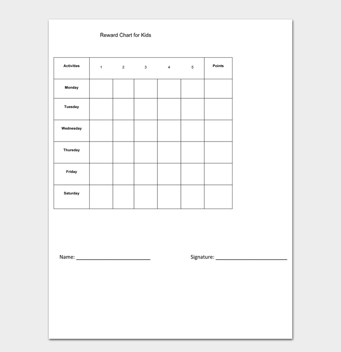 Reward Chart for Kids