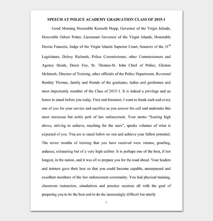 SPEECH AT POLICE ACADEMY GRADUATION CLASS OF 2015