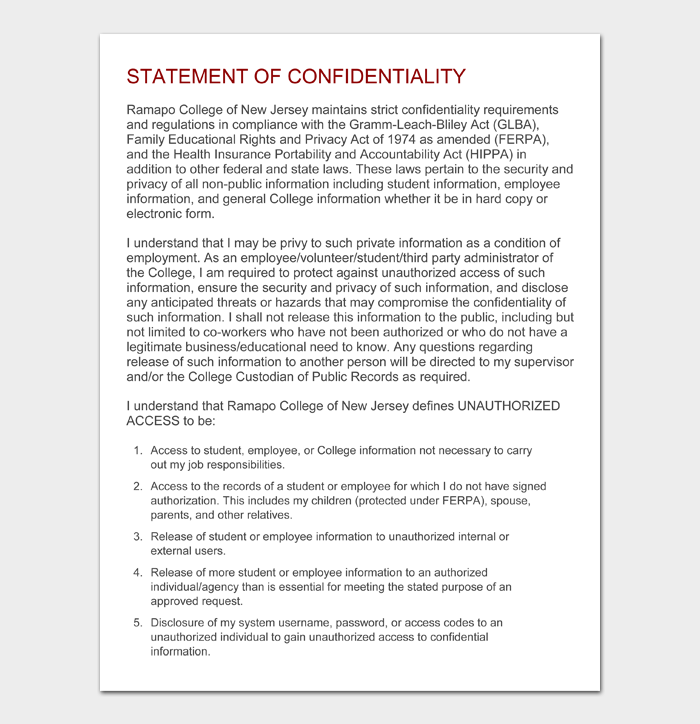 STATEMENT OF CONFIDENTIALITY