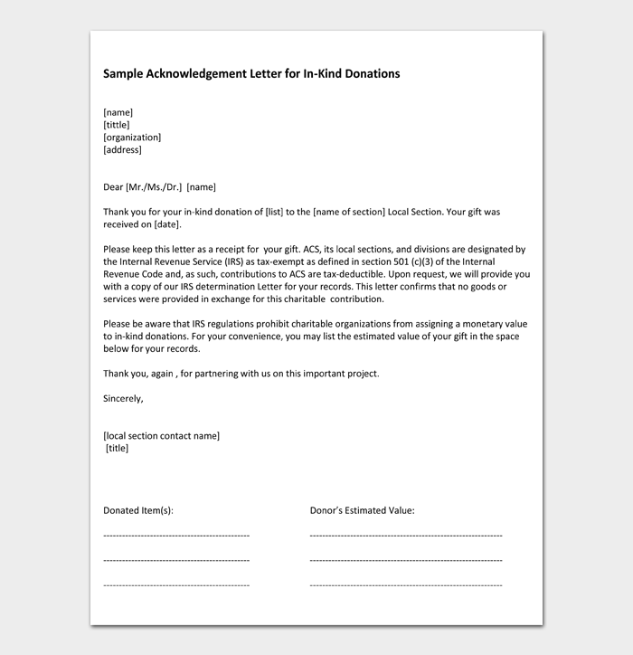 Sample Acknowledgement Letter for In Kind Donations