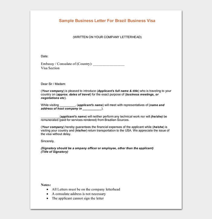 Sample Business Letter For Brazil Business Visa