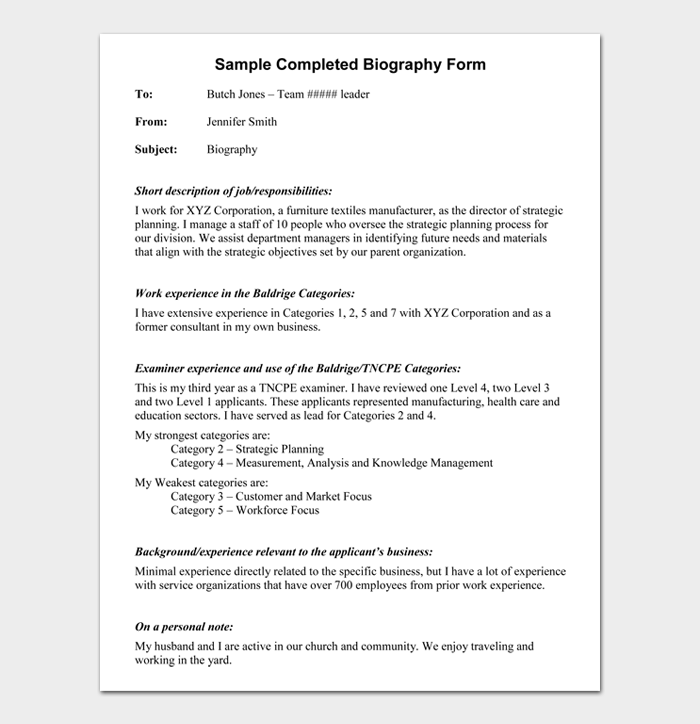 Sample Completed Biography Form