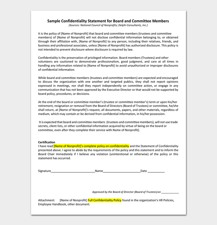 Sample Confidentiality Statement for Board and Committee Members