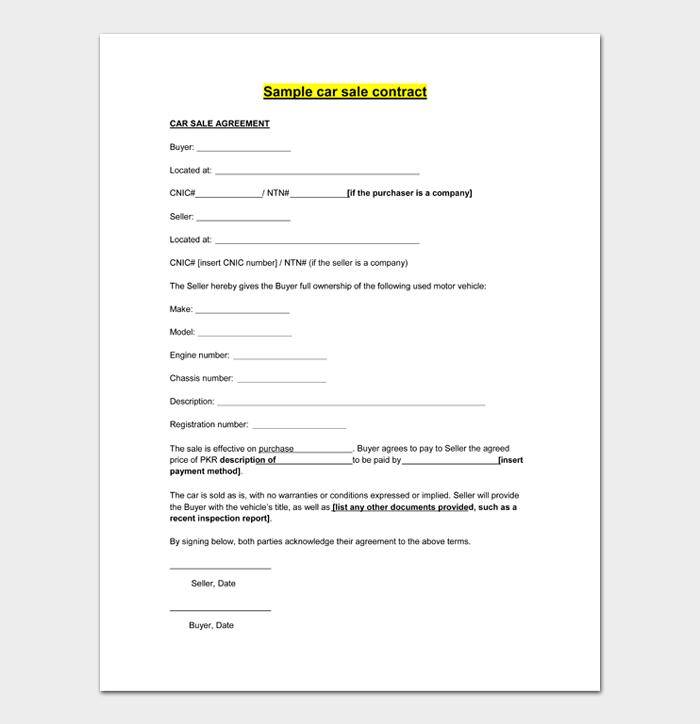 Sample car sale contract