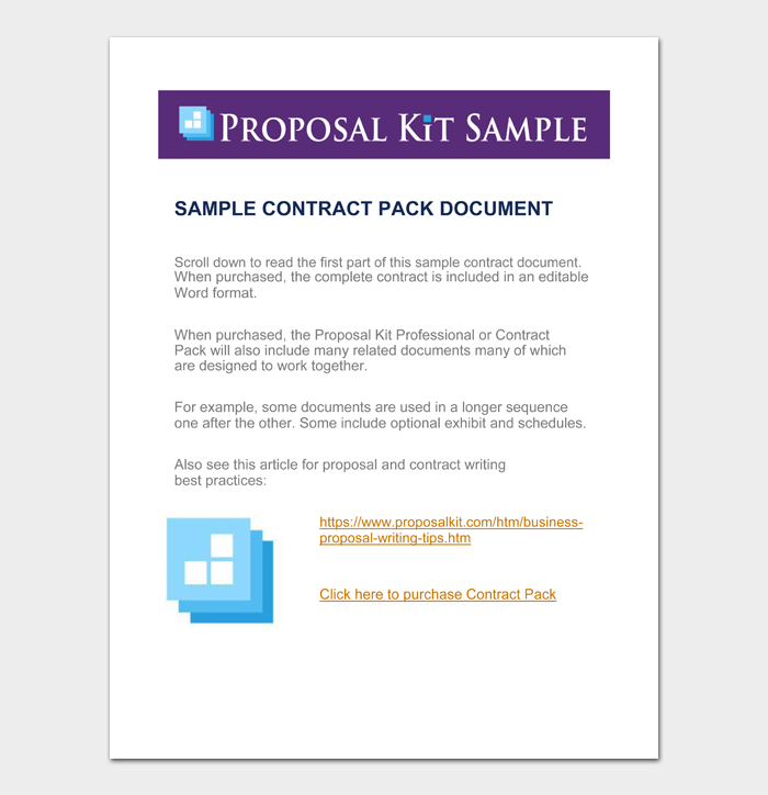 Sample contract pack document