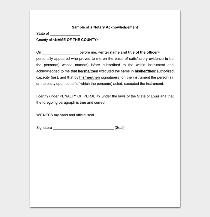 Sample of a Notary Acknowledgement