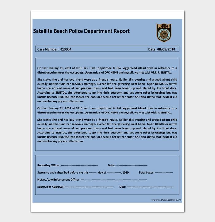 Satellite Beach Police Department Report