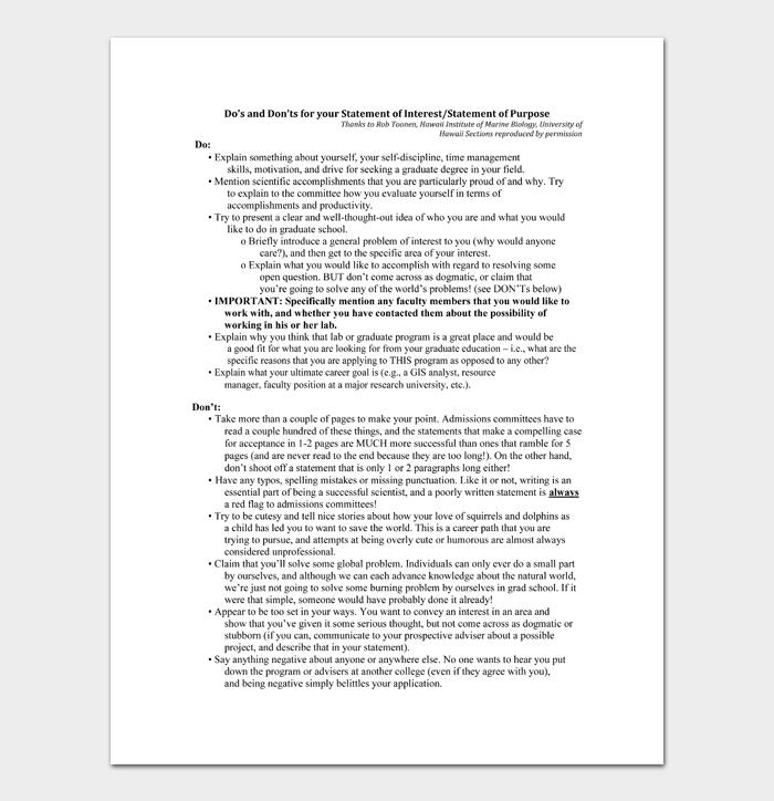 Statement of Purpose Examples #06
