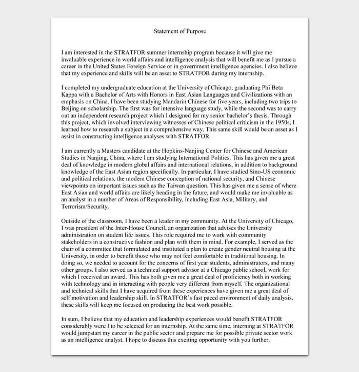 Statement of Purpose Examples #09