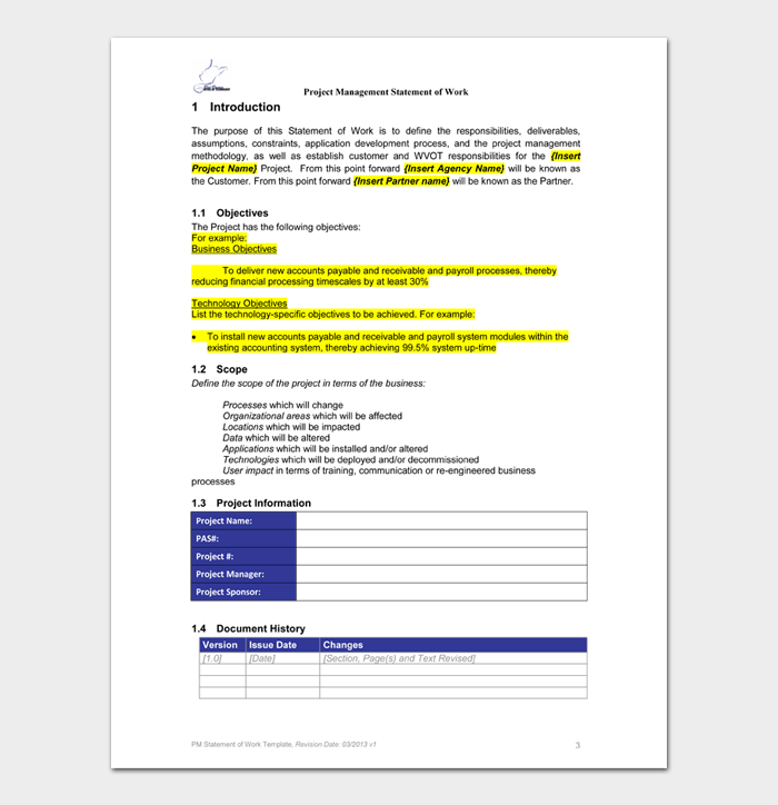 Statement of Work Templates #05