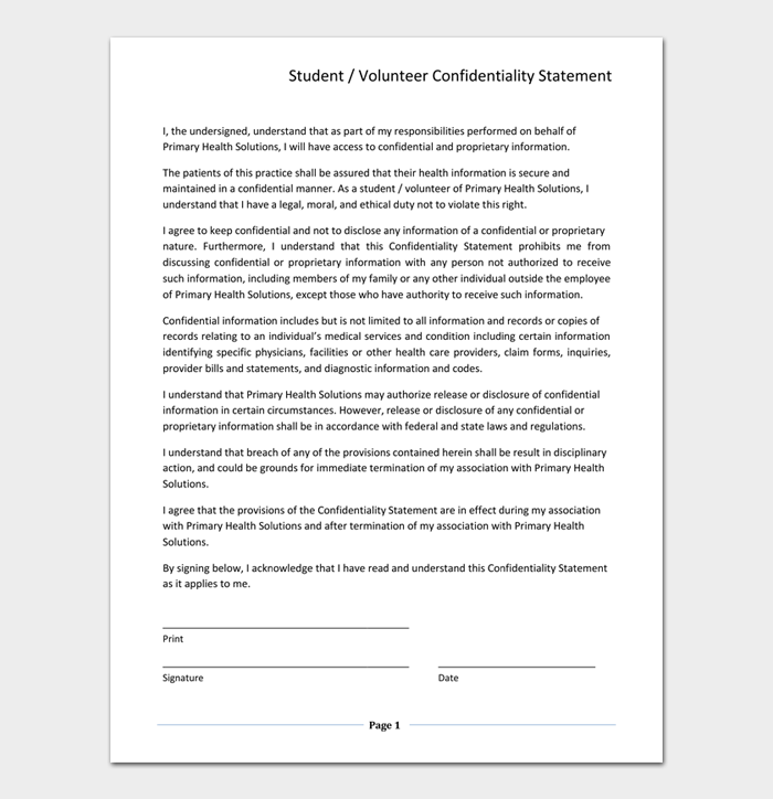 Student or Volunteer Confidentiality Statement