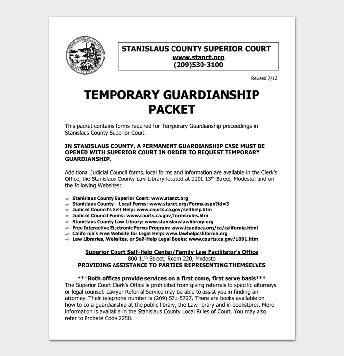 TEMPORARY GUARDIANSHIP PACKET
