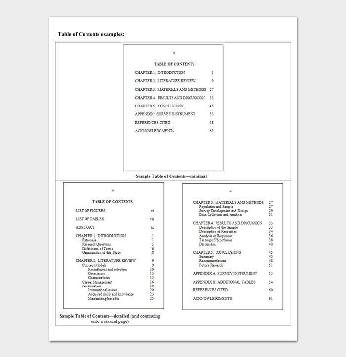 Table of Contents Templates #02