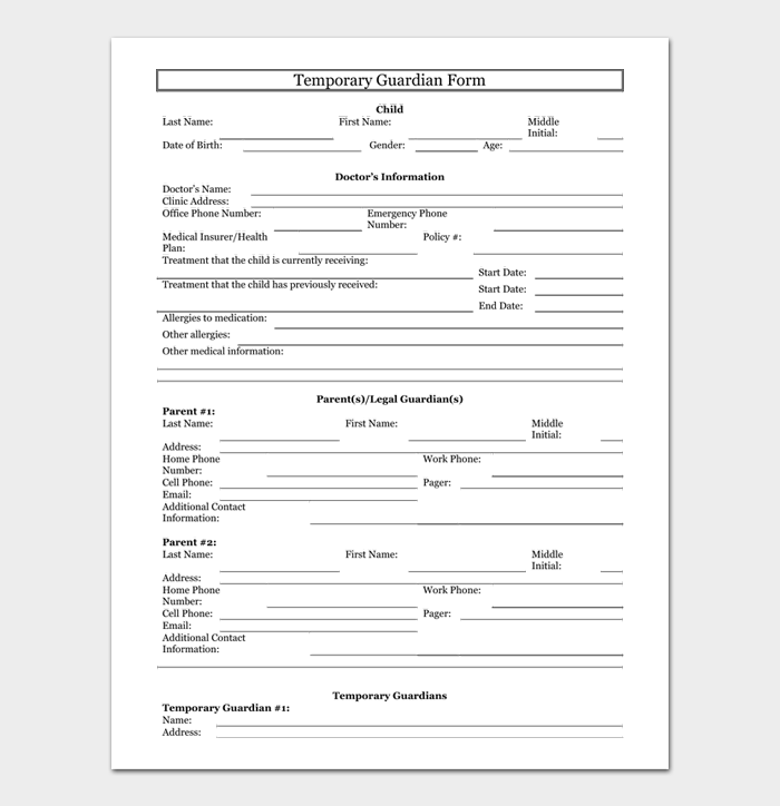 Temporary Guardian Form