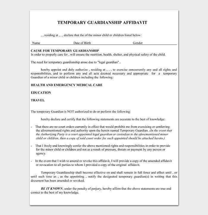 Temporary Guardianship Form #01