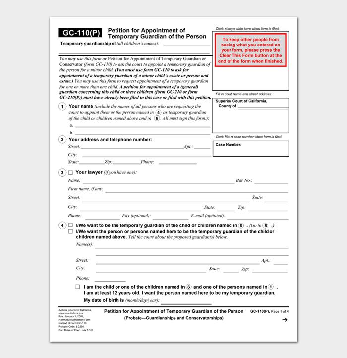 Temporary Guardianship Form #02