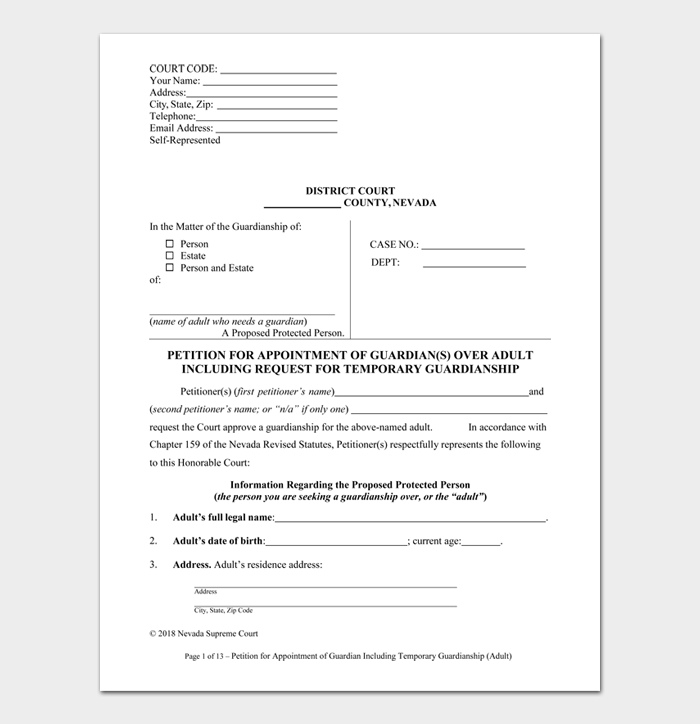 Temporary Guardianship Form #03