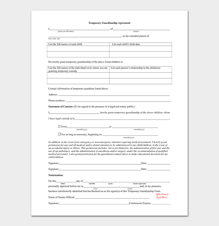Temporary Guardianship Form #06