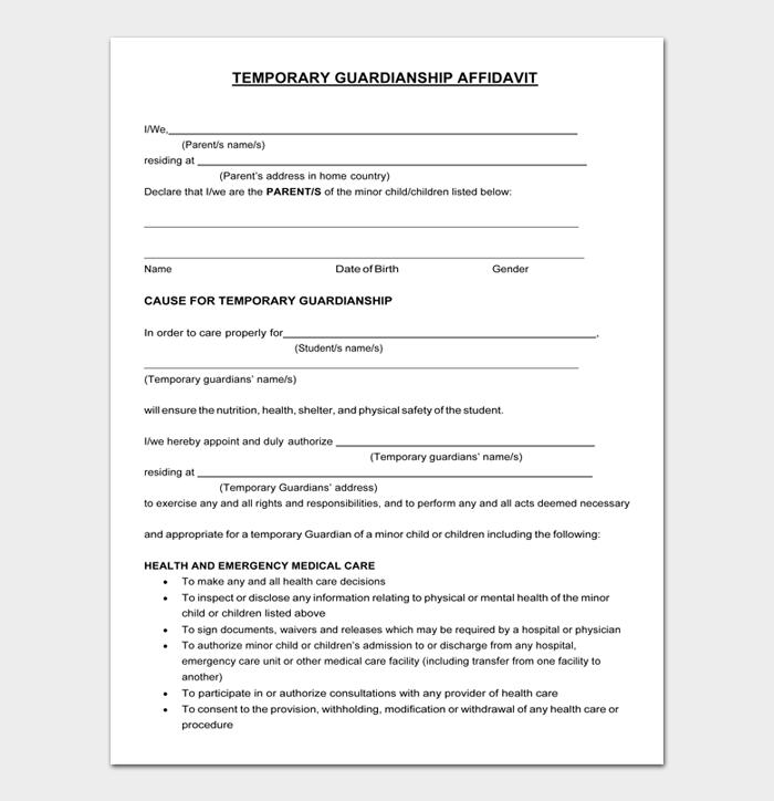 Temporary Guardianship Form #07