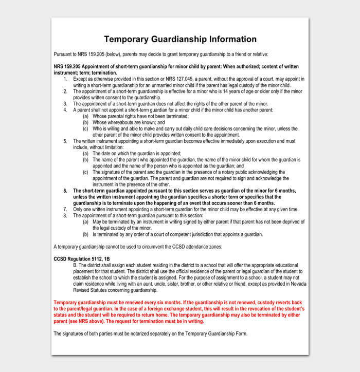 Temporary Guardianship Information
