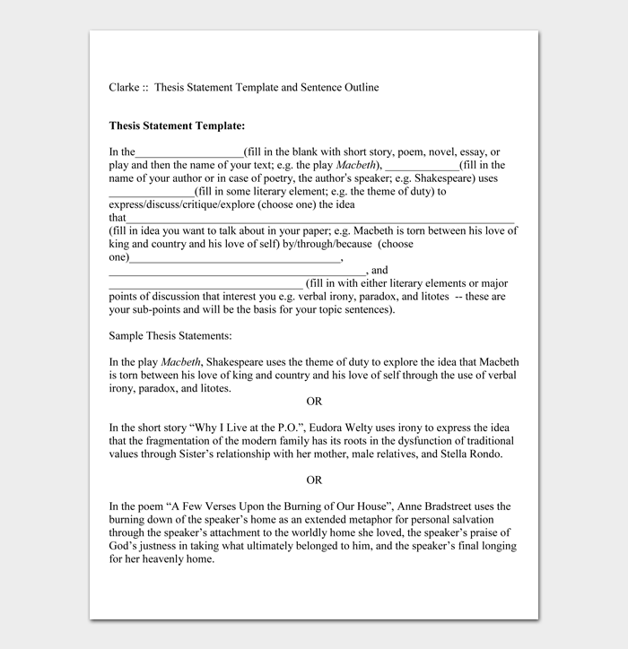 Thesis Statement Template #02