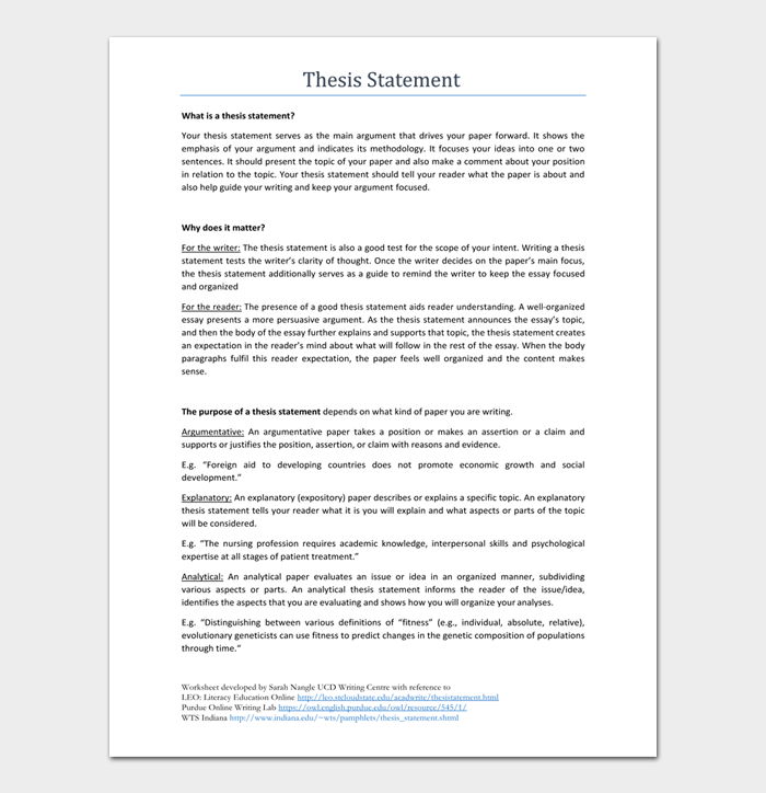 Thesis Statement Template #05