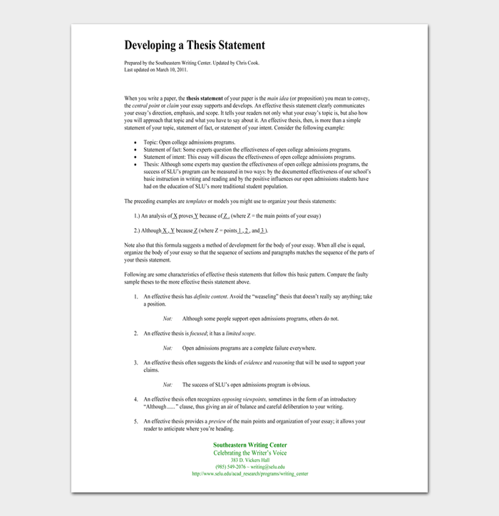 Thesis Statement Template #07