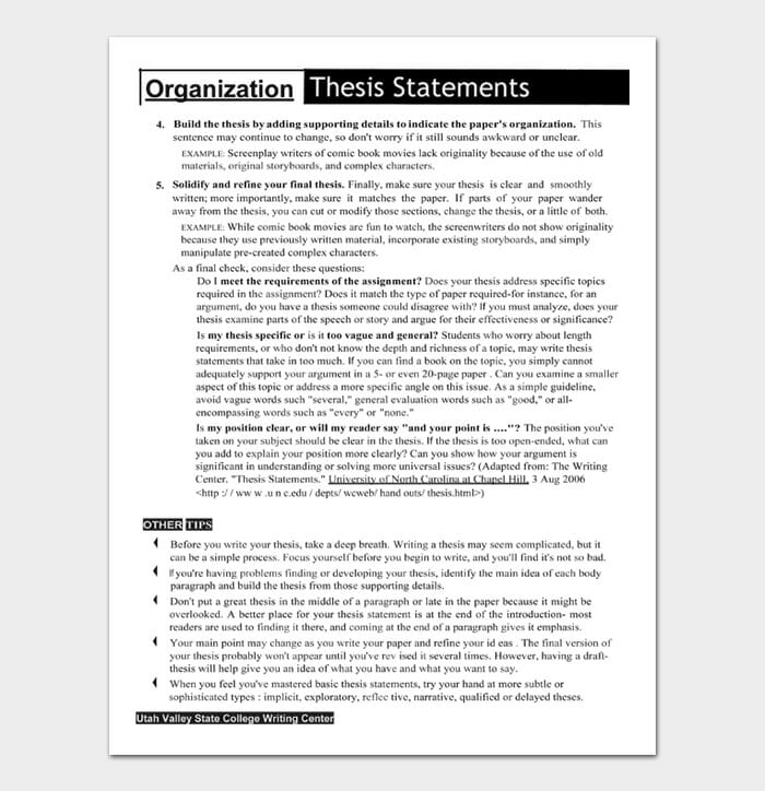 Thesis Statement Template #09