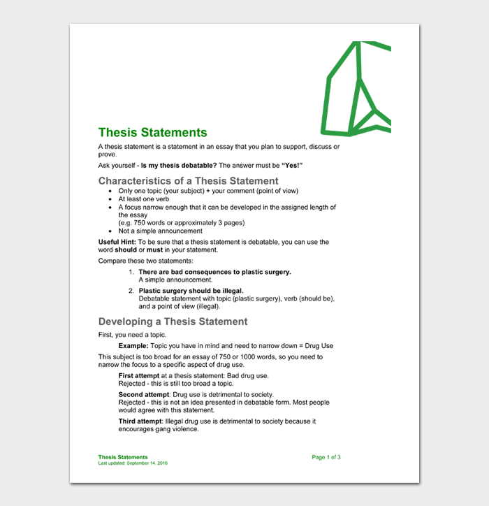 Thesis Statement Template #10
