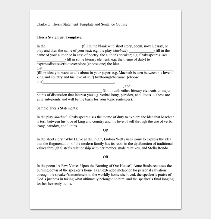 Thesis Statement Template and Sentence Outline