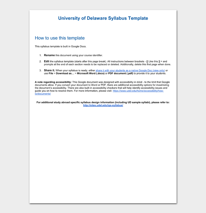 University of Delaware Syllabus Template