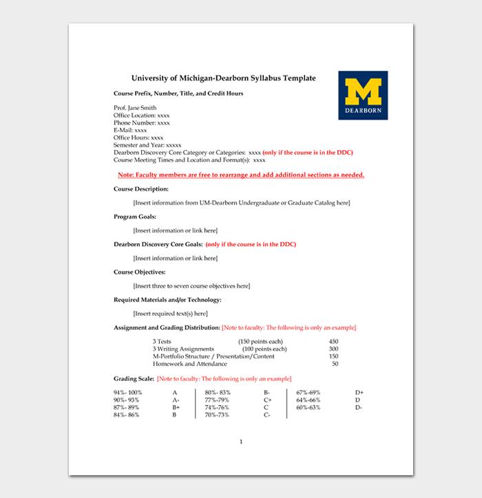 University of Michigan Dearborn Syllabus Template