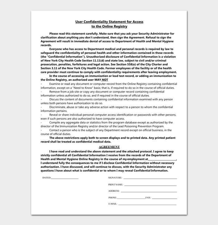 User Confidentiality Statement for Access