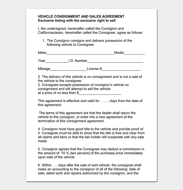 VEHICLE CONSIGNMENT AND SALES AGREEMENT