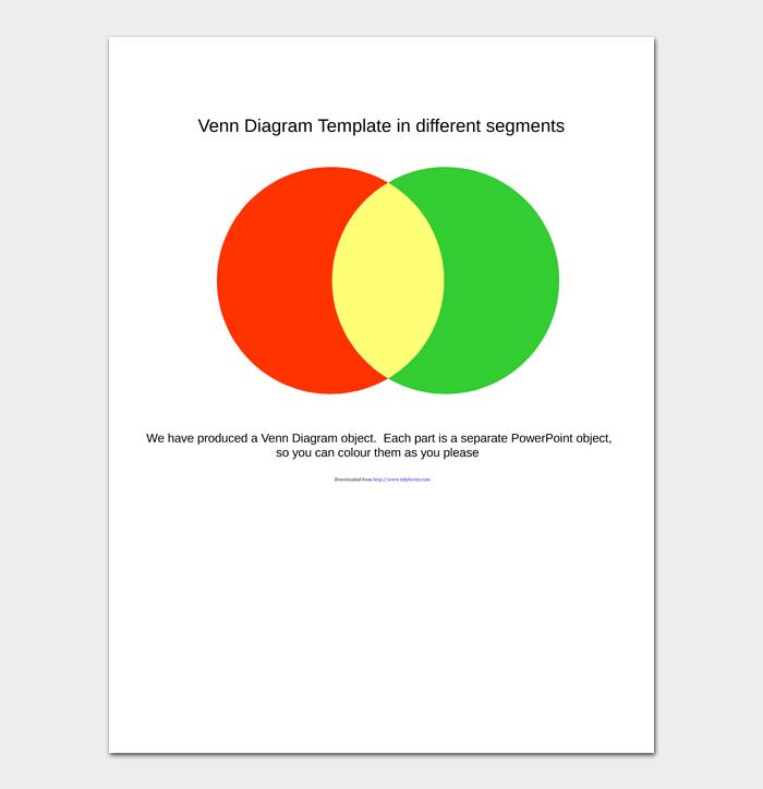 Venn Diagram Template in different segments