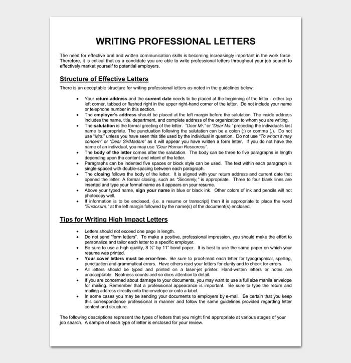 WRITING PROFESSIONAL LETTERS