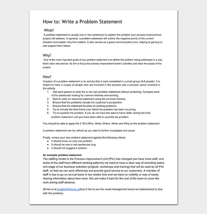 Write a Problem Statement
