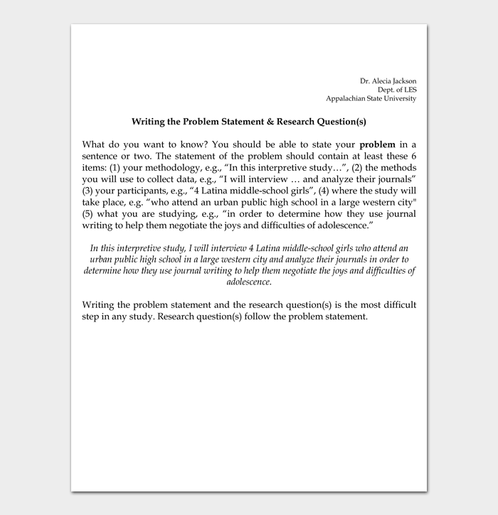 Writing the Problem Statement & Research Question