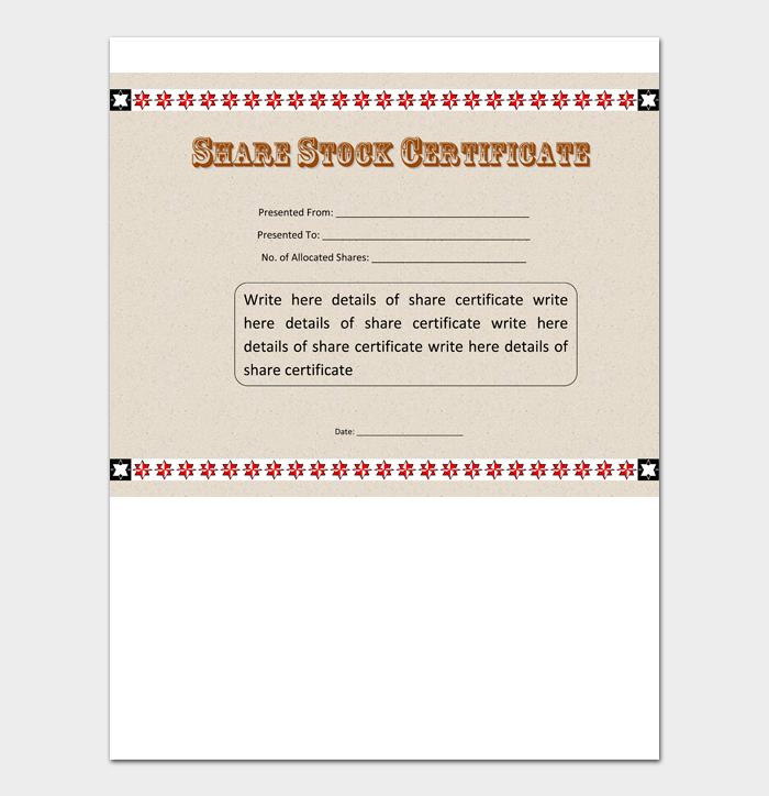 share stock certificate