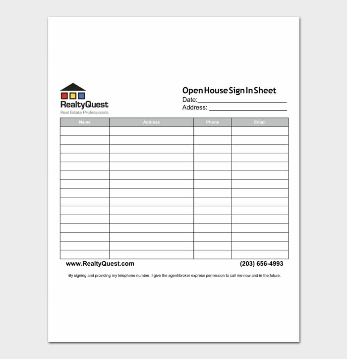 11 open house sign in sheet