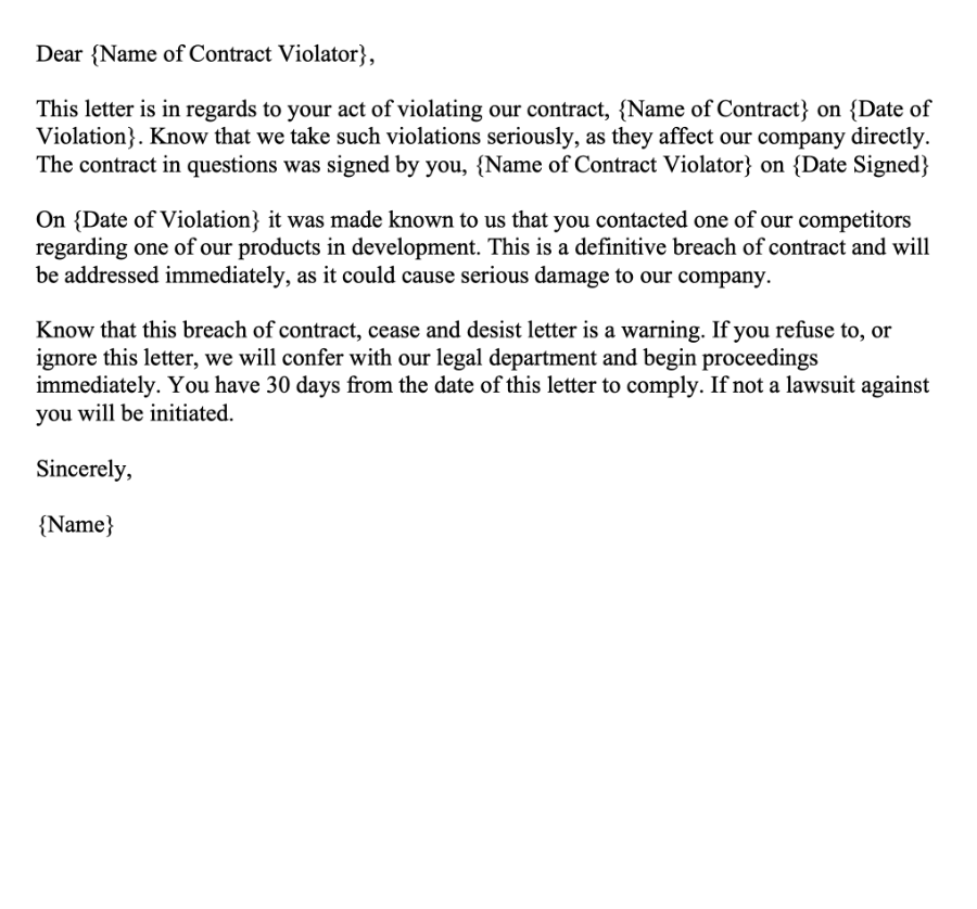 Breach of Contract Cease and Desist Letter