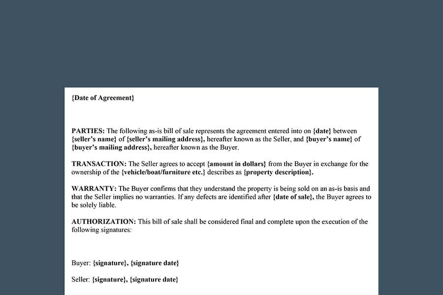 As-Is (No Warranty) Bill of Sale Form