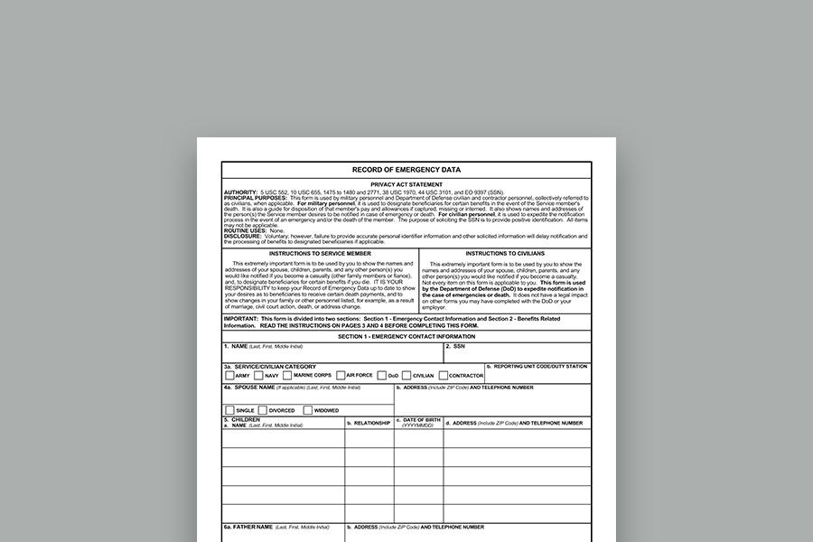 """DD Form 93 """"Record of Emergency Data"""" - PDF"""